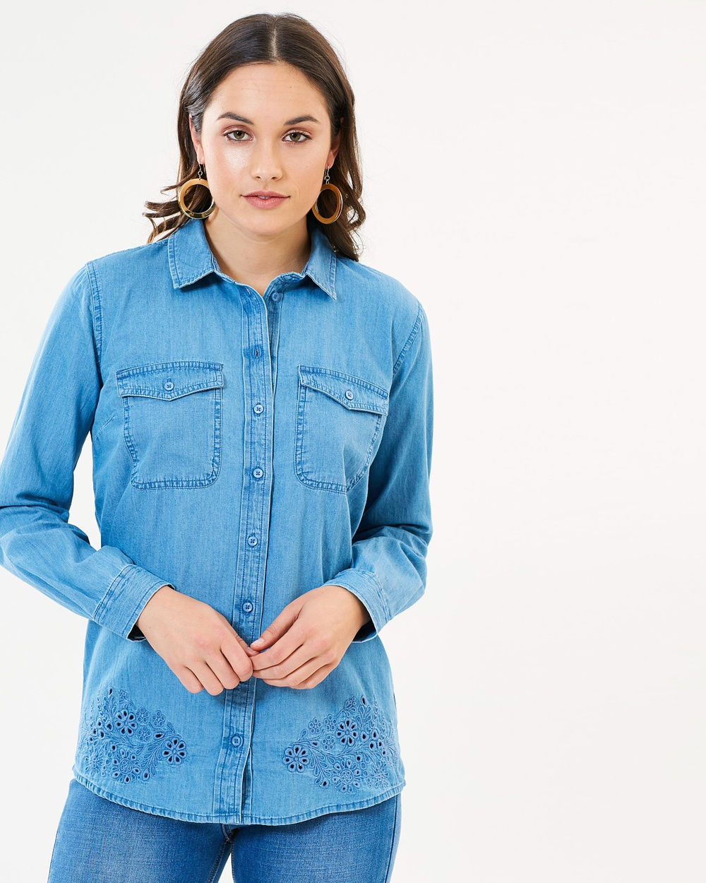 Dorothy Perkins Broderie Hem Shirt Tops Mid Wash Denim Broderie Hem Shirt
