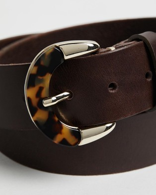 B.Belts - Tortoiseshell Buckle Leather Belt Belts (690)