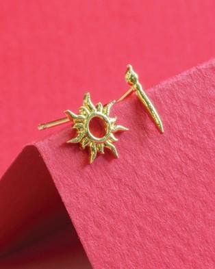 Short Story Disney Earring Tangled Star & Paintbrush - Jewellery (Gold)