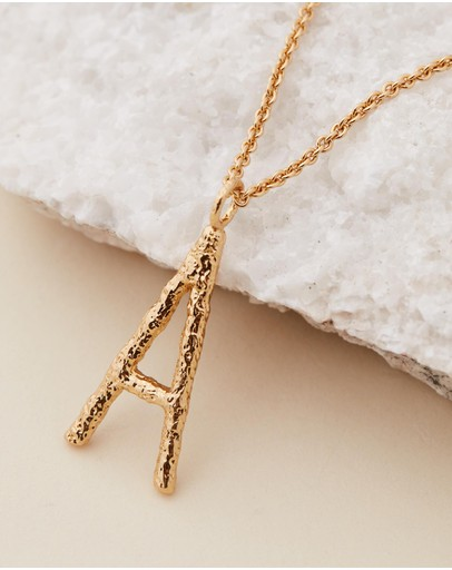 Amber Sceats Grande Letter Necklace - A Gold