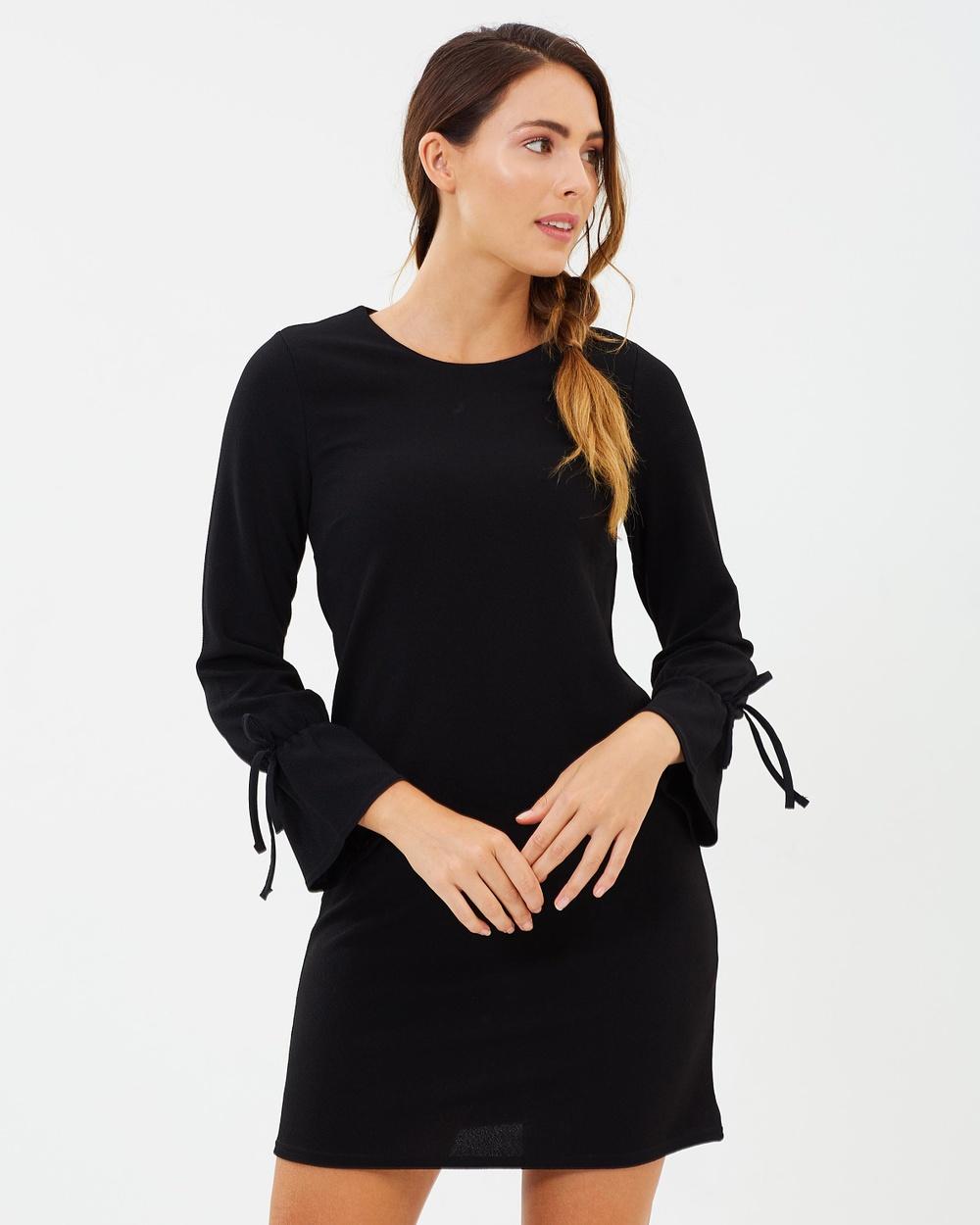 Dorothy Perkins Tie Cuff Shift Dress Dresses Black Tie Cuff Shift Dress