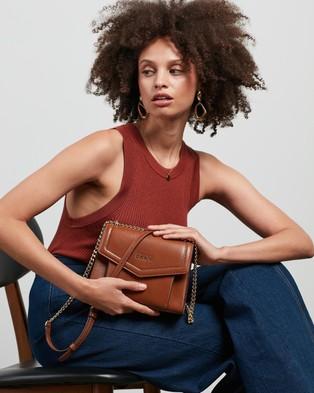DKNY Polly Flap Crossbody Bag Bags Caramel