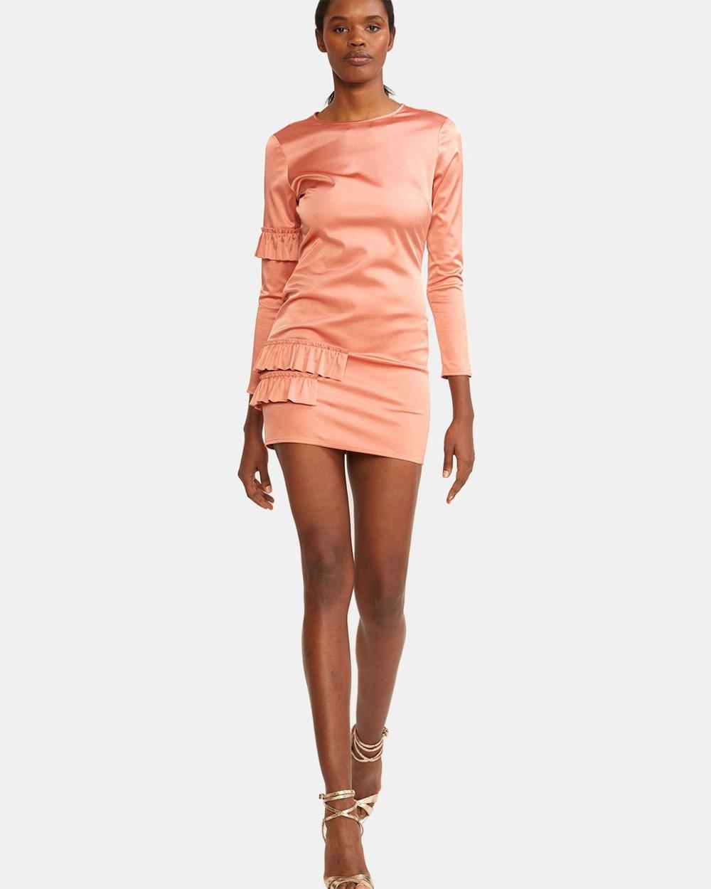 Cynthia Rowley Aeris Satin Ruffle Mini Dress Dresses Pink Aeris Satin Ruffle Mini Dress