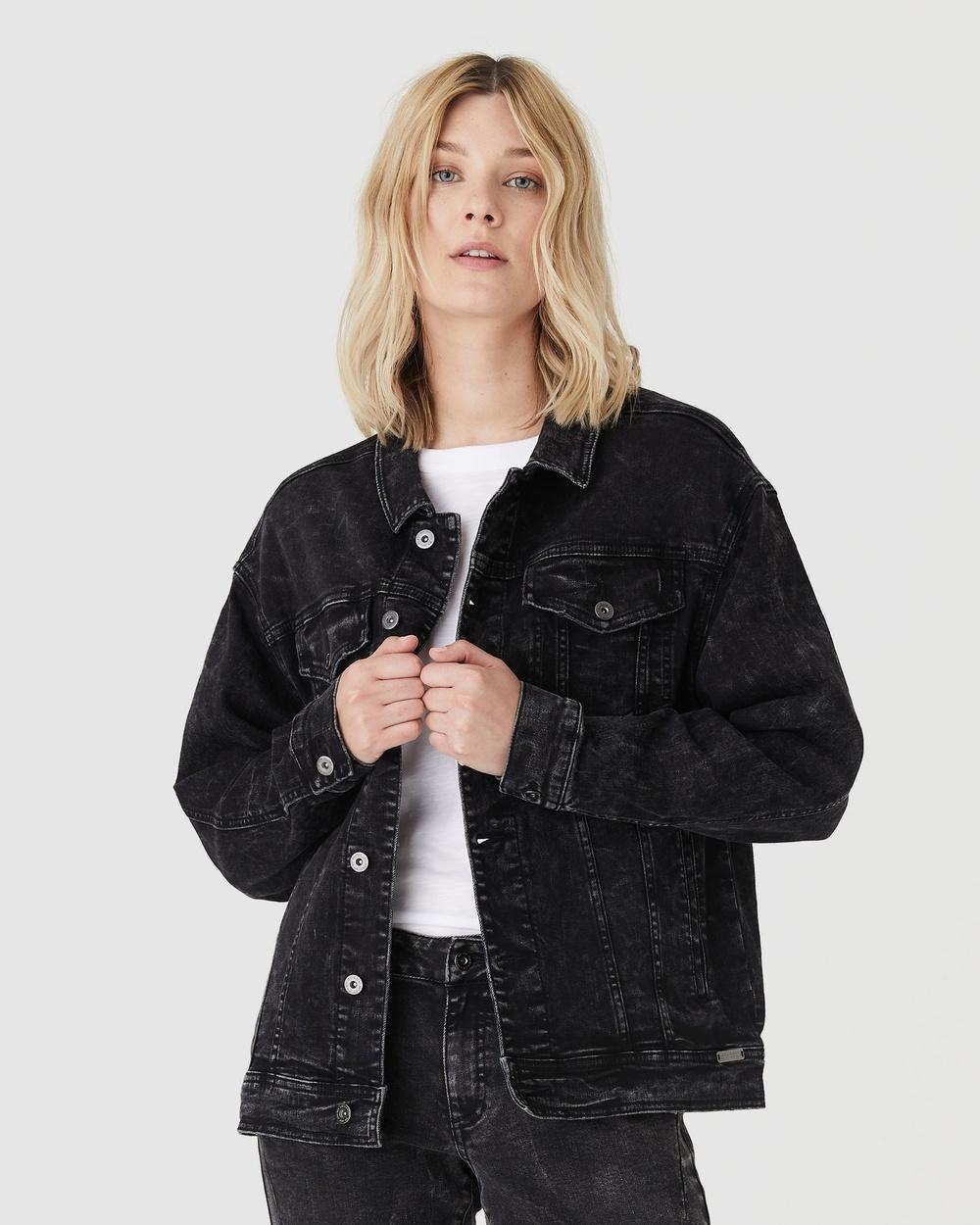 Jac & Mooki Delta Trucker Jacket Denim jacket black acid wash