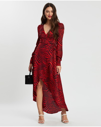 Missguided Zebra High Low Wrap Midi Ls Dress Red