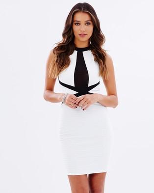 Lipsy – High Neck Bandage Body Con Dress – Bodycon Dresses (Monchrome)