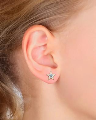 Elli Jewelry Kids Earrings Astro Stud Swarovski® Crystals 925 Sterling Silver Jewellery Gold