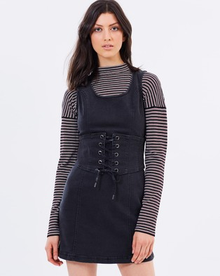 MINKPINK – Corset Denim Dress – Bodycon Dresses (Washed Black)
