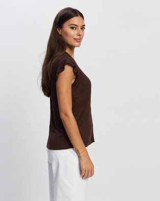 David Lawrence - Mixed Media Flutter Sleeve Top Tops (CHOCOLATE)