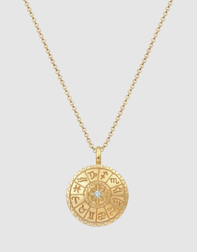 Elli Jewelry - Necklace Star Sign Coin Pendant Swarovski Crystals 925 Sterling Silver Gold Plated