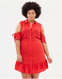 Lost Ink Plus - Shirt Dress with Frill Hem