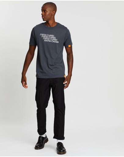 Justin Cassin Text Stack T-shirt Grey