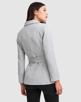 Belle & Bloom Time After Time Belted Blazer - Blazers (Grey)