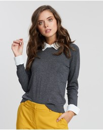 DP Petite - Chiffon Collar 2-in-1 Top