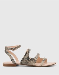 Wittner - Carmeline Snake Print Leather Ankle Strap Sandals