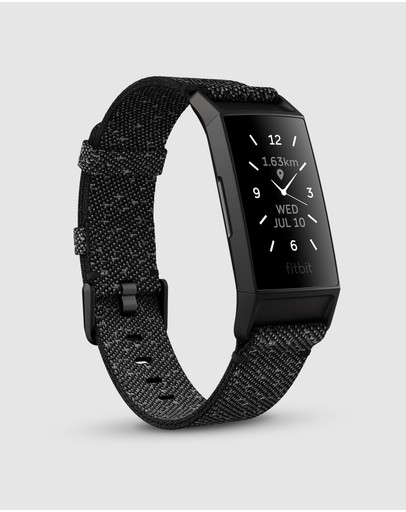 Fitbit - Fitbit Charge 4 Advanced Health and Fitness Tracker - Special Edition Granite Reflective Woven Band