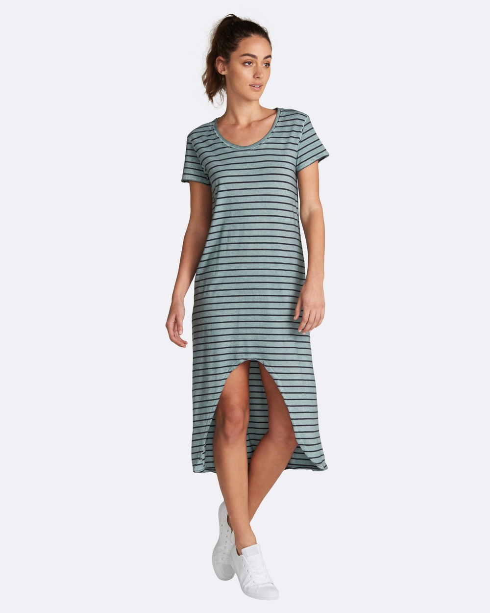 jac + mooki Maisie Stripe Dress Dresses Green Maisie Stripe Dress