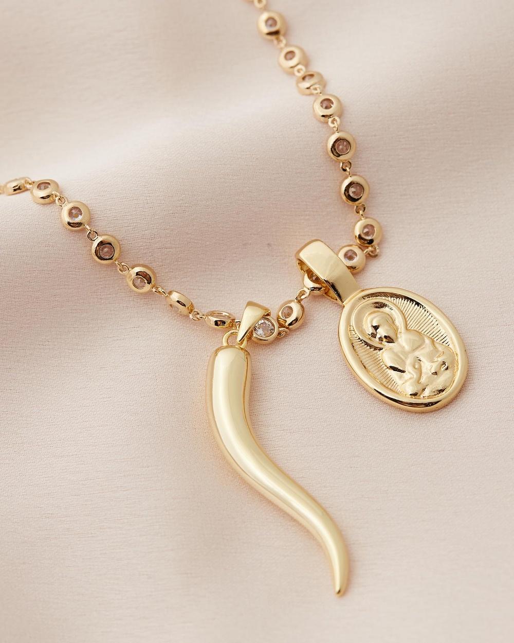 Sorella Oval Mary & Cornicello Brillare Necklace Jewellery Gold