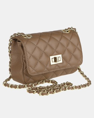 Lux Haide Sophia Cross Body Clutch Bag - Clutches (Taupe)