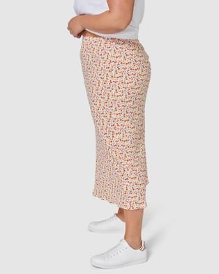 Something 4 Olivia Celia Print Midi Skirt - Pencil skirts (WHITE)