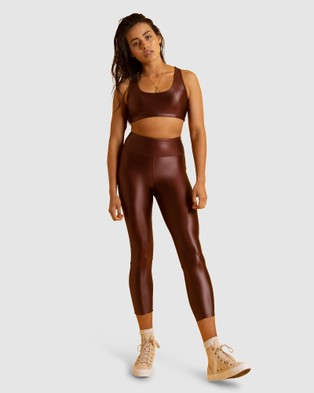 First Base Home Base 7 8 Leggings - Sports Tights (Brown)