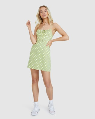 Subtitled Melly Spot Slip Dress - Dresses (GREEN)
