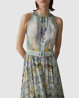 LEO & LIN Verde Silk Linen Dress - Printed Dresses (Green)