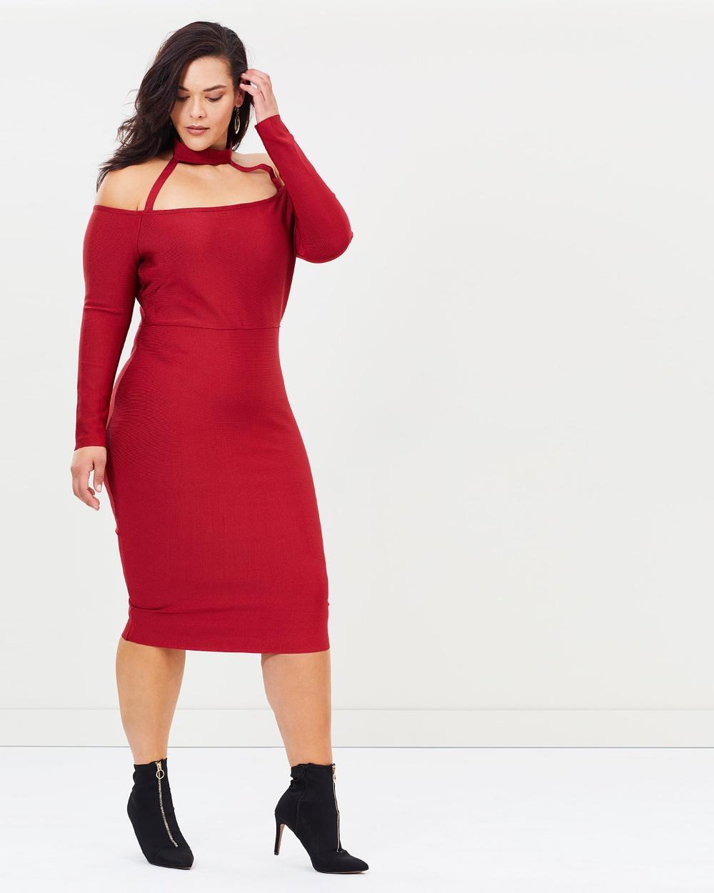Missguided Curve Premium Neck Dress Bodycon Dresses Red Premium Neck Dress
