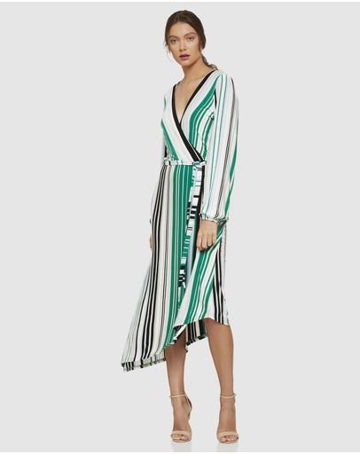 Oxford Fion Stripe Knit Dress Green