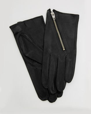 Kate & Confusion Biker Chick Leather Gloves - Outdoor Gloves (Black)