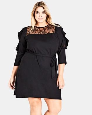 City Chic – Fancy Frill Dress Black
