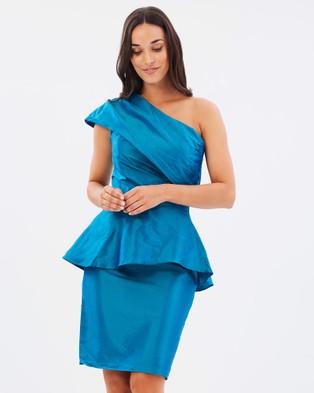 Faye Black Label – One Dance One Shoulder Peplum Dress Teal