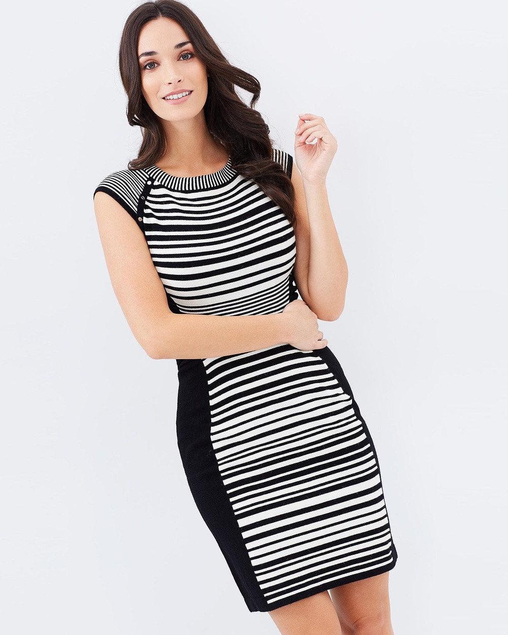 Privilege Knit Dress Bodycon Dresses White & Black Knit Dress