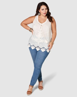 The Poetic Gypsy - Nowhere Else Embroidered Cami Tops (Natural)