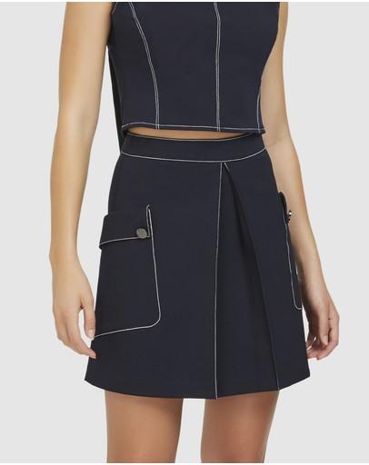 Aris Contrast Stitch A-line Skirt Navy