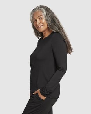 Boody Organic Bamboo Eco Wear - Long Sleeve T Shirt - Long Sleeve T-Shirts (Black) Long Sleeve T-Shirt
