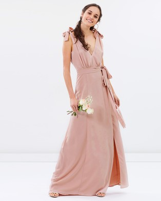 Atmos & Here – Amelie V Neck Maxi Dress – Bridesmaid Dresses (Nude Pink)