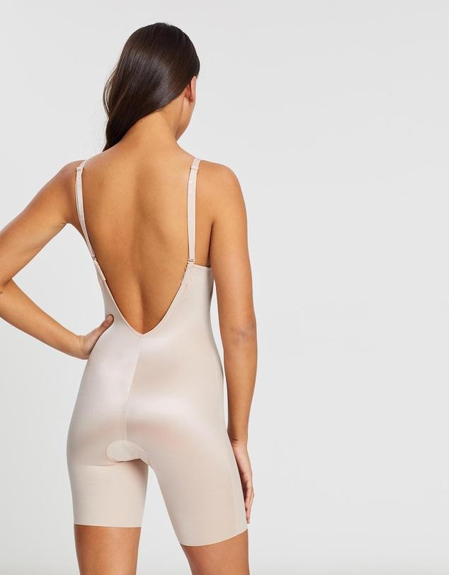 Women Suit Your Fancy Plunge Low-Back Mid-Thigh Bodysuit