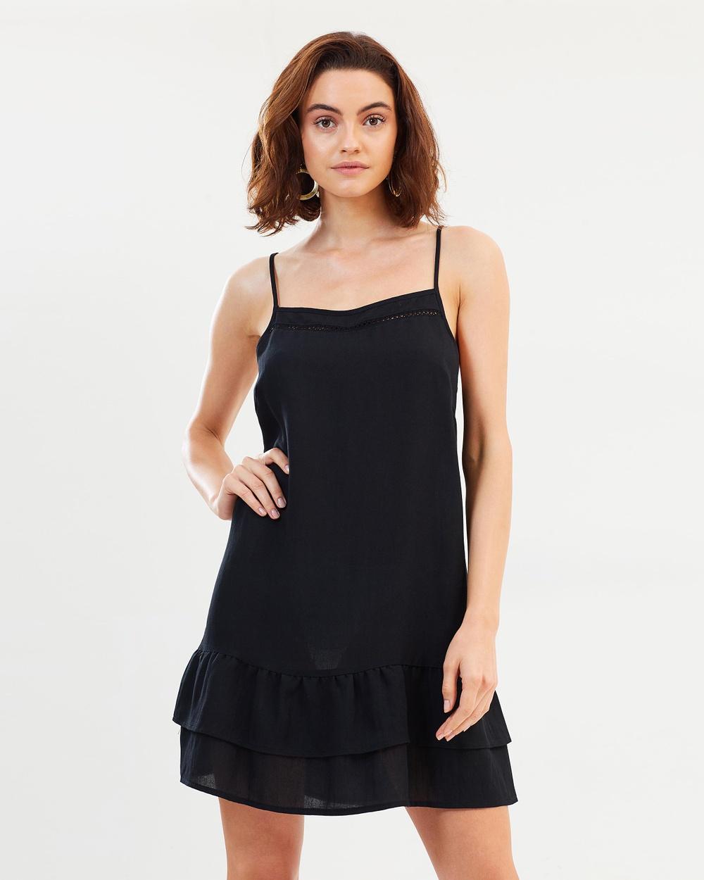 Dazie Faye Square Neckline Dress Dresses Black Faye Square Neckline Dress
