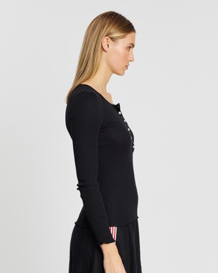 Grace Willow Ammy Silk & Cotton Seamless Button Up Top - Tops (Black)