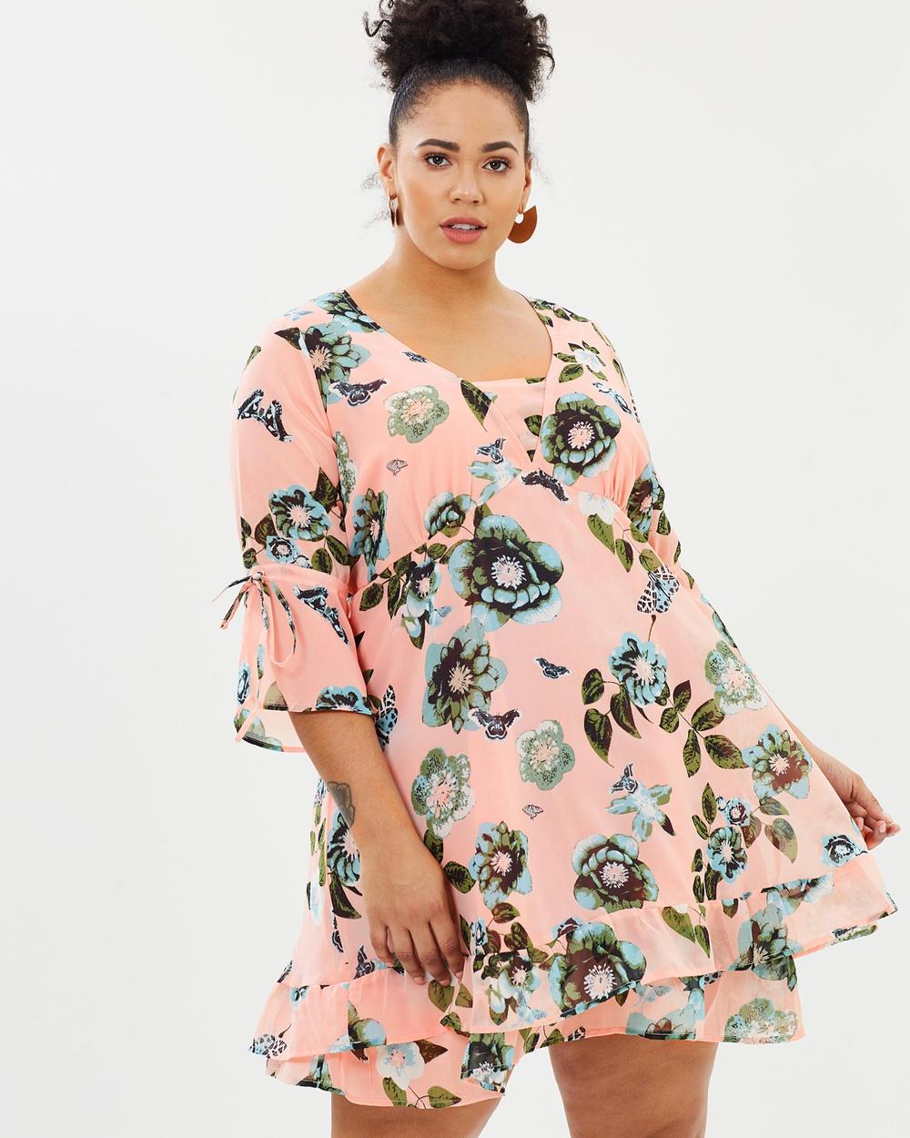 JUNAROSE Amara 3 4 Sleeve Short Dress Printed Dresses Coral Cloud Amara 3-4 Sleeve Short Dress
