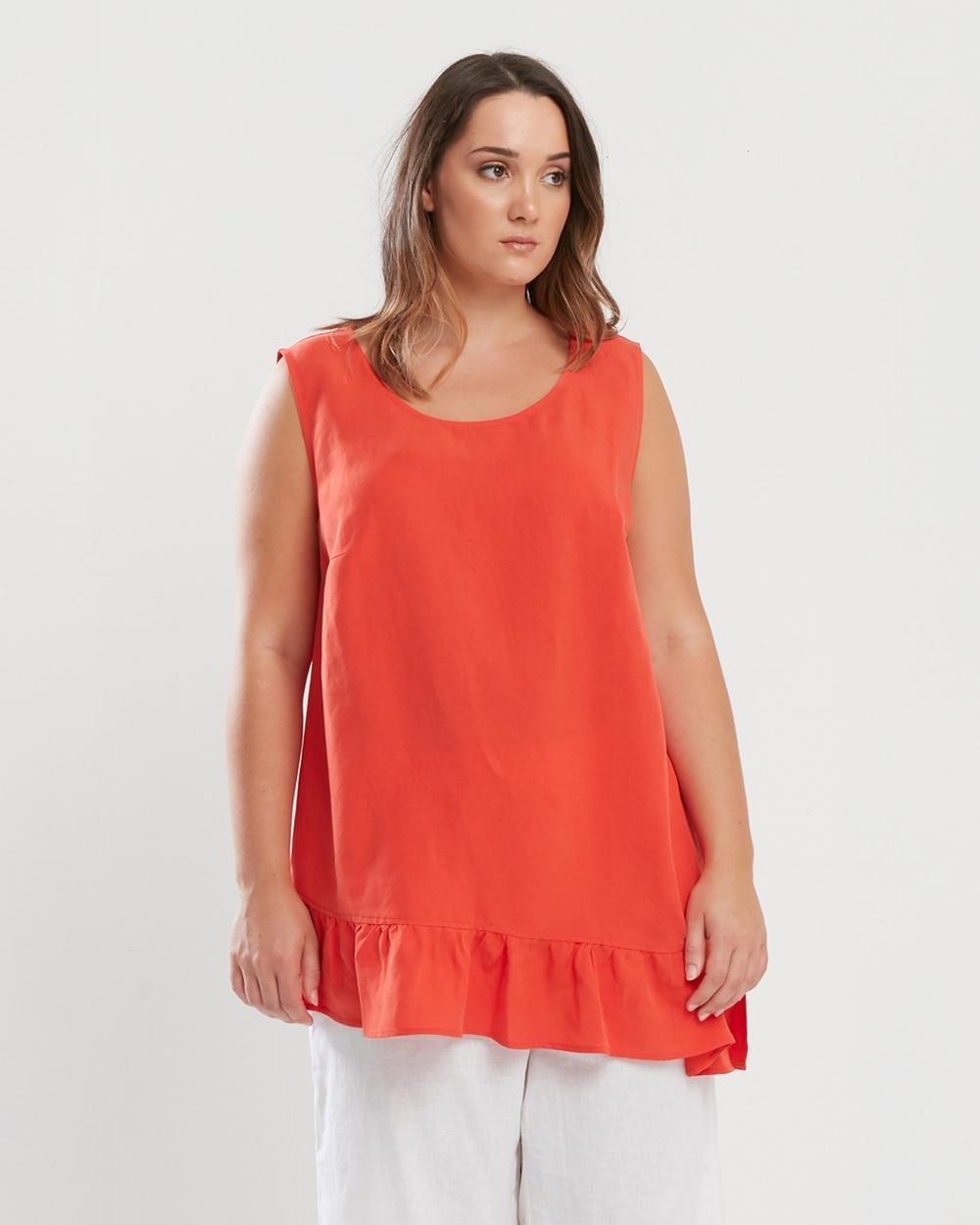 Advocado Plus Modest Sleeveless Tops Tangerine