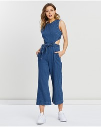 Missguided - Cut-Out Back Denim Jumpsuit