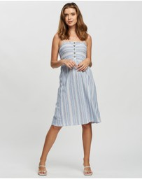 TOPSHOP Petite - Petite Striped Shirred Midi Dress
