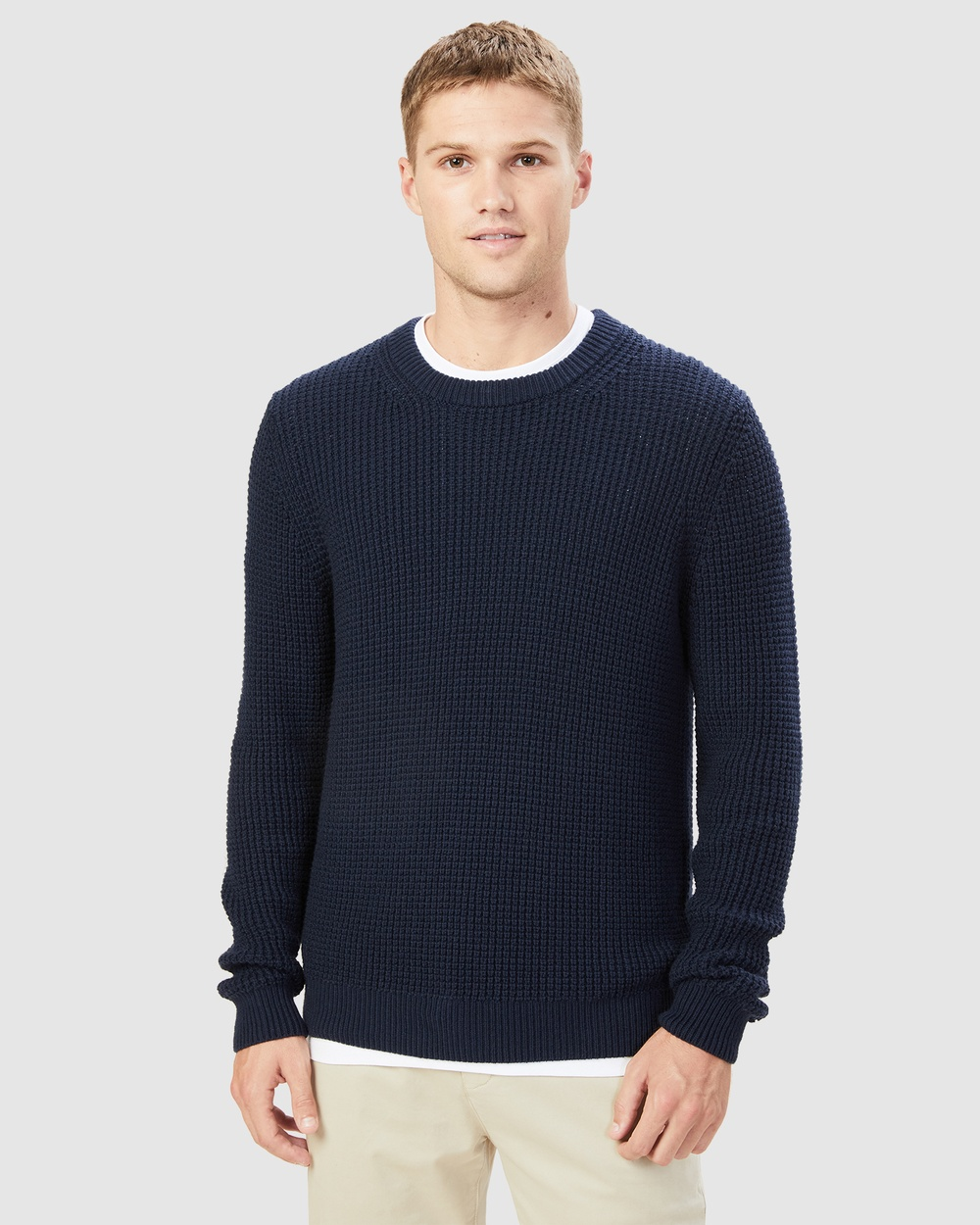 French Connection Chunky Waffle Knit Jumpers & Cardigans MARINE BLUE