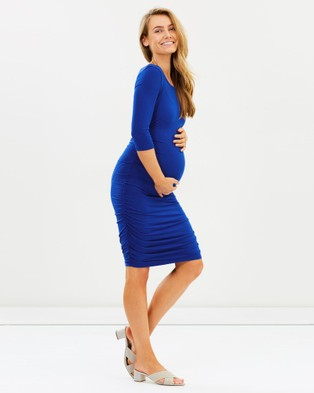 Bamboo Body – 3 4 Sleeve Ruched Dress Cobalt