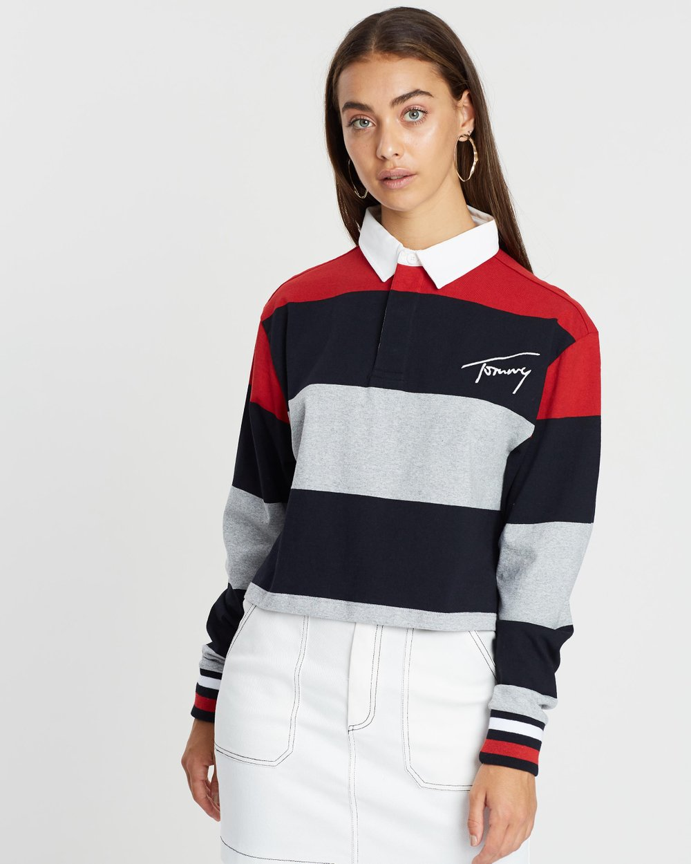 a323f6ac5b99 Cropped Long Sleeve Polo by Tommy Jeans Online | THE ICONIC | Australia