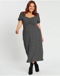 DP Curve - Ruched Mono Spot Midi Dress