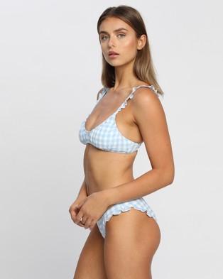 Cotton On Body U Crop Bralette Bikini Top Tops Pale Blue Gingham & Frill