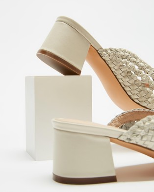 AERE Woven Leather Mule Heels - Mid-low heels (Cream Leather)